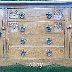 Antique/ Vintage Stanley Wood of Olney Oak Sideboard Arts And Crafts