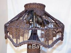 Antique Wicker Wire Table Lamp Mission Arts and Crafts Movement
