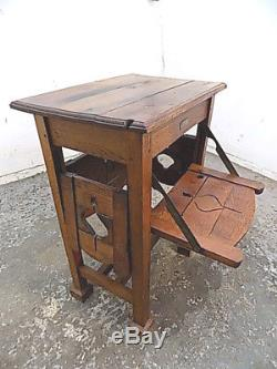 Antique, art and crafts, oak, metamorphic, table, side, end, square legs, queen victoria