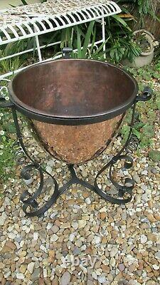 Antique arts and crafts planter coal bucket copper wrought iron