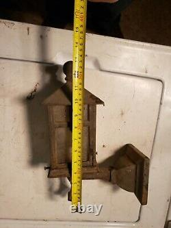 Antique cast iron Porch Sconce Light Fixture arts and crafts Tudor gothic