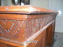 Antique golden oak arts and crafts carved desk