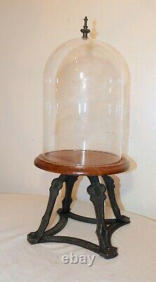 Antique handmade Arts and Crafts brass glass wood display bell cloche jar case