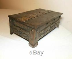 Antique handmade patinated forged steel Arts and Crafts footed box copper ornate