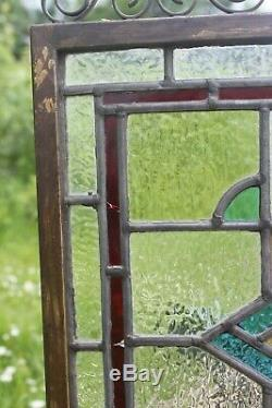 Antique leaded stained glass window panel, Arts and crafts stained glass panel