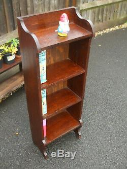 Antique oak narrow bookcase, quarter sawn, Art and Crafts period