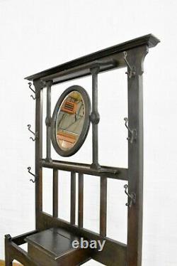 Antique vintage Arts and Crafts oak hall coat rack stand