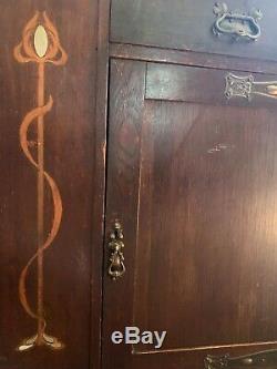 Art Nouveau Arts and Crafts oak bookcase cabinet bureau sideboard