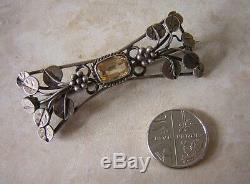 Art Nouveau Silver Brooch Arts And Crafts Silver And Citrine Flower Brooch Pin