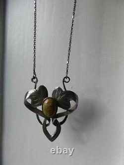 Art Nouveau arts and crafts Jugendstil Chech Silver Unakite floral Necklace