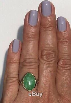 Arts And Crafts 14K Yellow Gold Green Jade Jadeite Floral Vintage Navette Ring