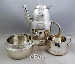 Arts And Crafts 3 Piece Cymeric Silver Coffee Set, Archibald Knox, Liberty & Co