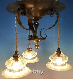 Arts And Crafts / Art Nouveau Brass Centre Light / Lamp / Was Bensons Era