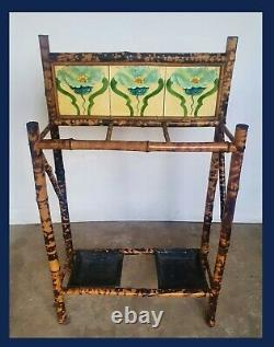 Arts And Crafts, Art Nouveau Tile Bamboo Umbrella Stand / Stick Stand