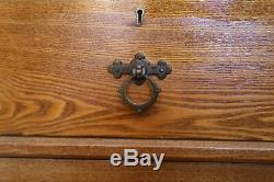Arts And Crafts Ash Chest of Drawers with Original Gothic Style Handles