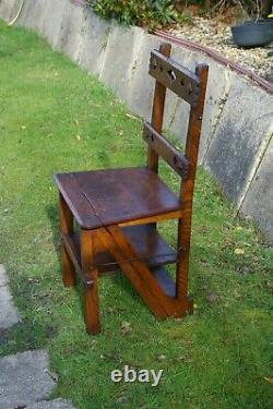 Arts And Crafts Circa 1890 English Oak Library Metamorphic Steps Chair