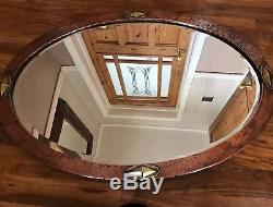 Arts And Crafts Copper Mirror Antique Hammered Bevelled Wall Oval Vintage Old