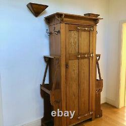 Arts And Crafts Hall Robe/Stand/Cupboard, Oak And Copper