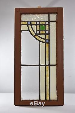 Arts And Crafts Leaded Stained Glass Window Green, Gold, Blue, White
