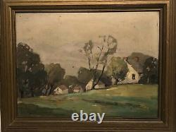 Arts And Crafts Long Island Landscape With Houses Signed Original Frame
