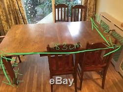 Arts And Crafts Oak Dinning Table 5 Chairs (1 Carver)