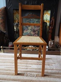 Arts And Crafts Oak Ladder Back Caned Chair Rattan Retro Bedroom Hall Office
