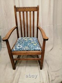Arts And Crafts Oak Open Armchair