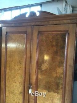 Arts And Crafts Period Burr Walnut Wardrobe, Fitted Interior