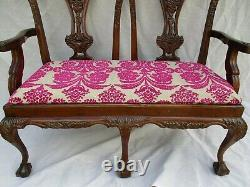 Arts And Crafts Victorian Mahogany Wood Antique Style Double Chair back