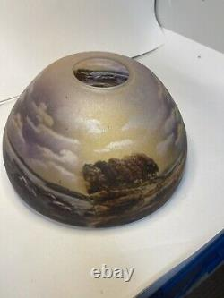 Arts & Crafts 14 Reverse Painted Lake And Moon Chipped Ice Lamp Shade No Chips