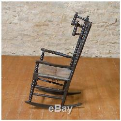 Arts & Crafts Child's Ebonised Ash and Beech Rocking Chair