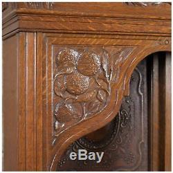Arts & Crafts English Oak Arts and Crafts Carved Vines Oak Dresser c. 1920