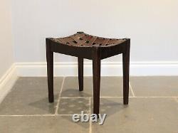Arts & Crafts Oak and Leather Stool by Simpson