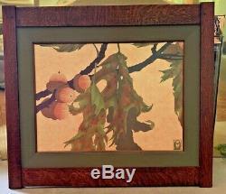 Arts & Crafts Style White Oak Frame Canvas Lithogragh Anita Munman Pin Oak