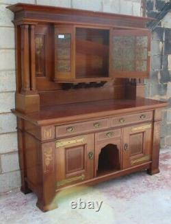 Arts and Craft Mahogany Sideboard with Mirror Back and Quality Brass Handles