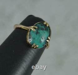 Arts and Crafts 9 Carat Rose Gold and Turquoise Solitaire Ring