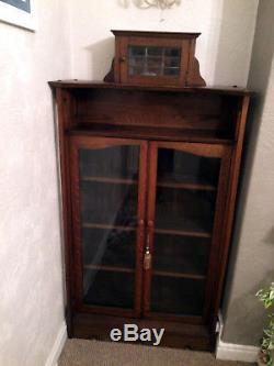 Arts and Crafts Antique Glass Door Bookcase