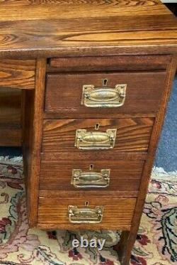 Arts and Crafts Antique Oak Extending Four Drawer Desk Wylie Lochhead Glasgow