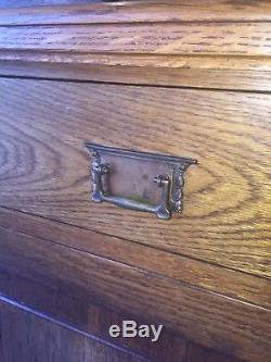 Arts and Crafts Antique Oak Sideboard / Dresser c1890s Tulip Detail Art Nouveau