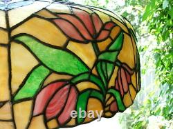 Arts and Crafts, Art Nouveau, Art Deco HANGING LEADED GLASS, STAINED GLASS LAMP