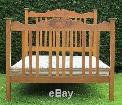 Arts and Crafts Art Nouveau Carved Walnut Standard Double Bed with Platform Base