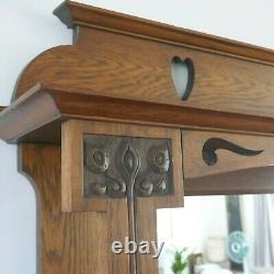 Arts and Crafts Art Nouveau Golden Oak Mirror Back Sideboard Dresser Hunter & Co