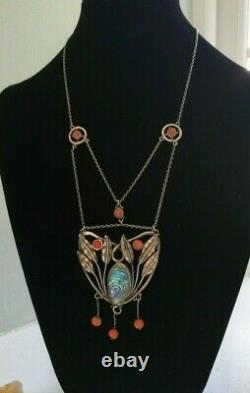 Arts and Crafts/ Art Nouveau c1900 rare silver, abalone, coral necklace, Ashbee
