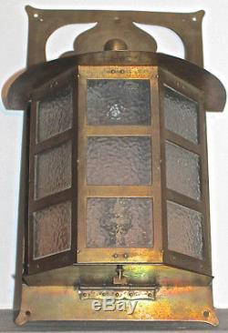 Arts and Crafts Birmingham Guild of Handicraft BGH Brass Lantern/Wall Light