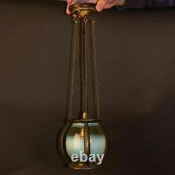Arts and Crafts Brass and Vaseline Glass Lantern or Ceiling Light