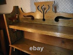 Arts and Crafts Bureau Bookcase Circa 1900 Oak H 149 cm- Pierced Gallery