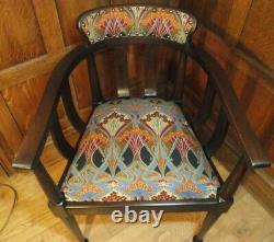 Arts and Crafts Chair C 1900- All New Upholstery- Liberty of London Fabric