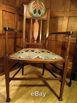 Arts and Crafts Chair Circa 1900 All New Upholstery Liberty of London Fabric