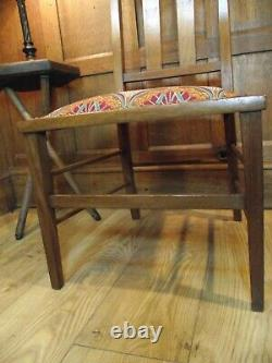 Arts and Crafts Chair Circa 1900 All New Upholstery Superb Wood Inlay