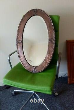 Arts and Crafts Copper Hammered Mirror 29 Inch
